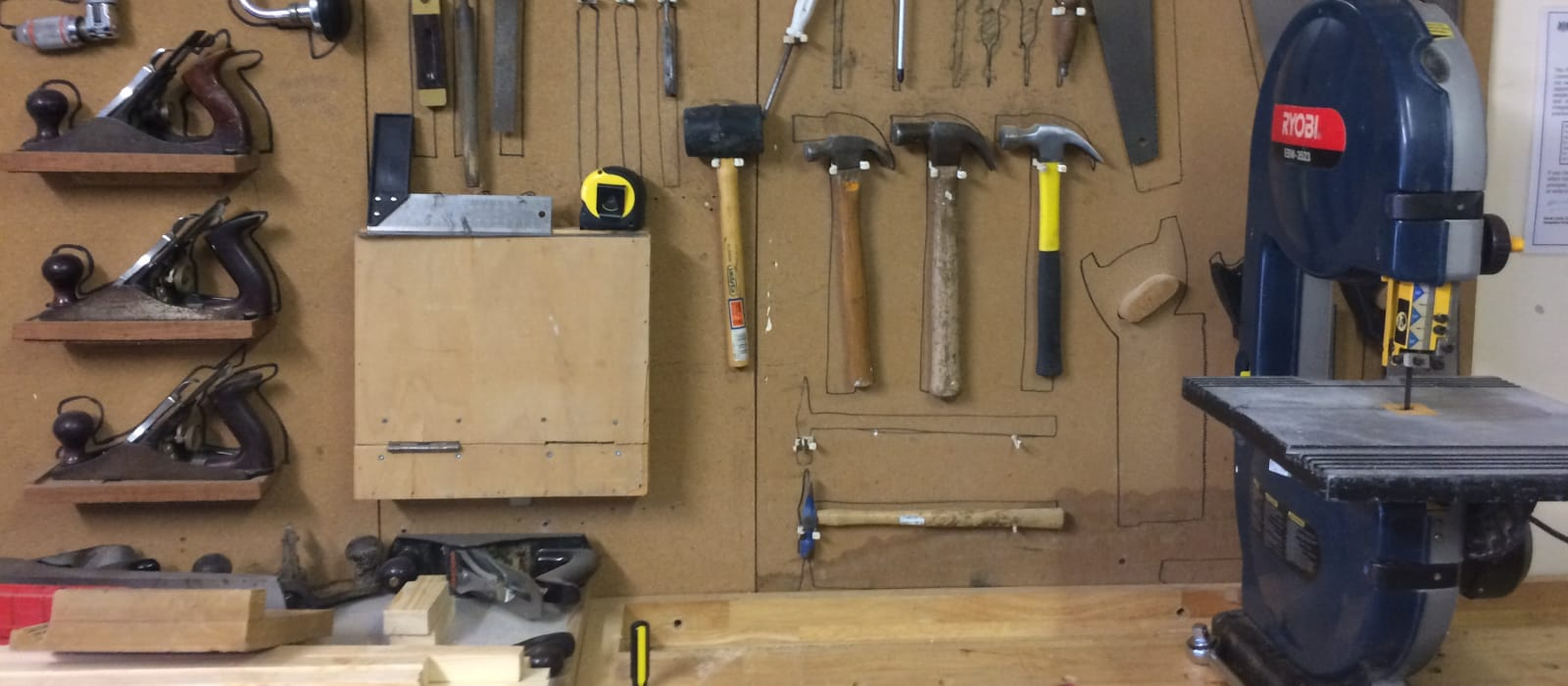 Woodwork tools on a wall