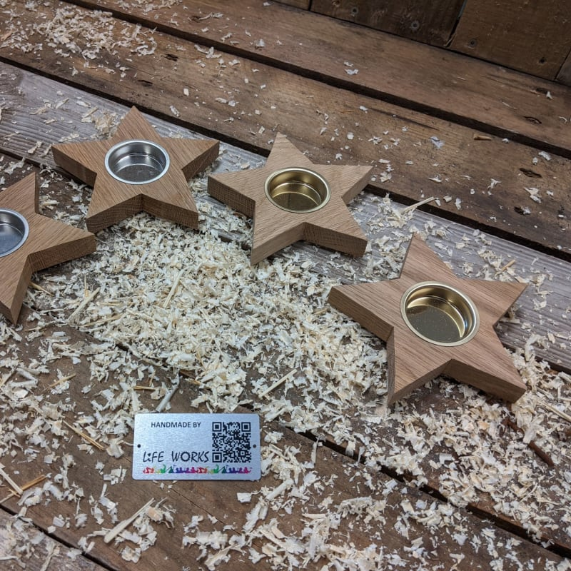 Oak Star Tea Light Holder